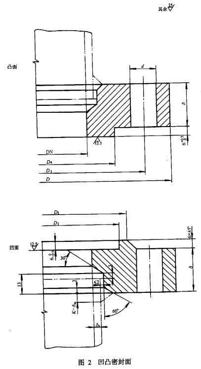 压力容器法兰密封面凹凸面结构图